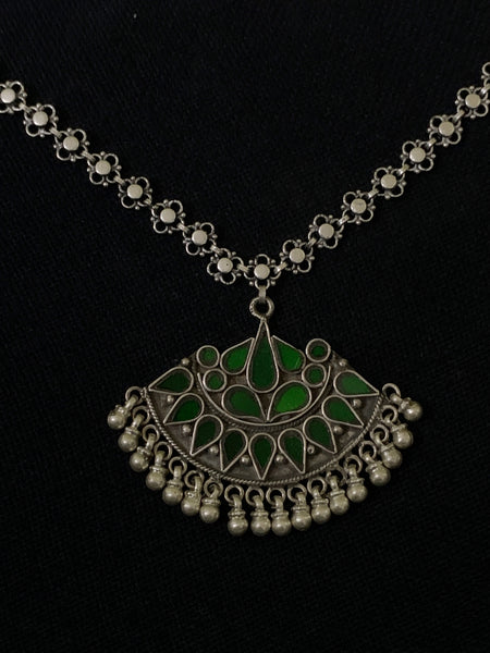 Silver Green Pendant Necklace
