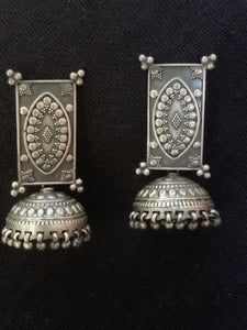 Silver Rectangular Top Jhumka