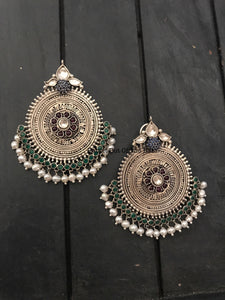 Big Silver Studs with Kundan and Blue Stone