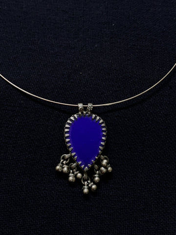 Silver Blue Glass Pendant