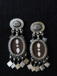 Brown Oval Handpainted Earrings