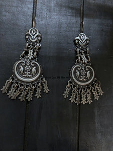Silver Danglers with Parrots