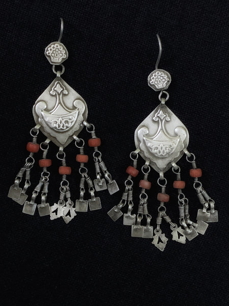 Vintage Central Asian Coral Earrings