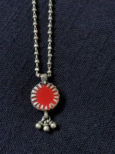 Silver Red Round Pendant