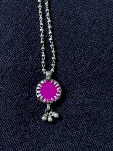 Silver Round Pink Pendant