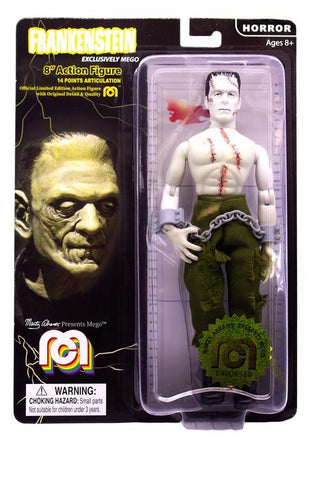 "Mego Horror Wave 6 - Frankenstein 8"" Action Figure (Glow In The Dark, Bare Chested With Painted Stitches)"