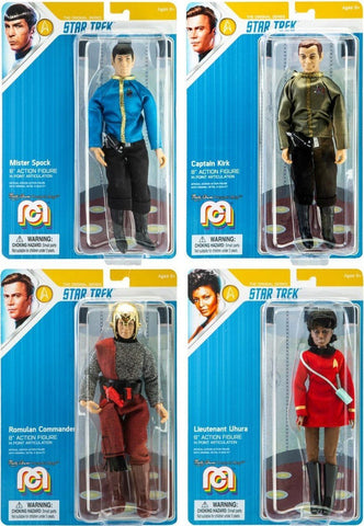 "Mego Star Trek Kirk, Spock, Uhura & Romulan Commander Set of 4 - 8"" Action Figures"