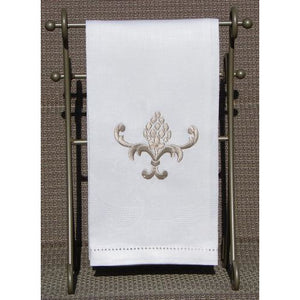 Light Gray Embroidered Pineapple Hand Towel