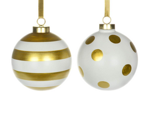 Sienna WHITE BALL ORNAMENT GOLD STRIPES OR DOTS