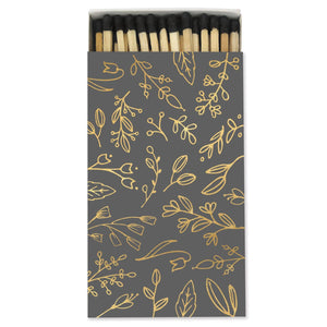 Dim Gray Large Match Box: Charcoal Gray & Gold Foil Floral