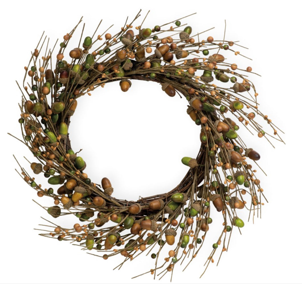 Dark Olive Green ACORNS FOR DAYS WREATH