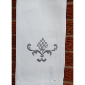 Gray Embroidered Pineapple Hand Towel