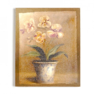 Dark Khaki Flax Canvas Wall Art Print - Orchid