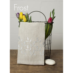 Gray Atlas Embroidered Hand Towel (Leaves)