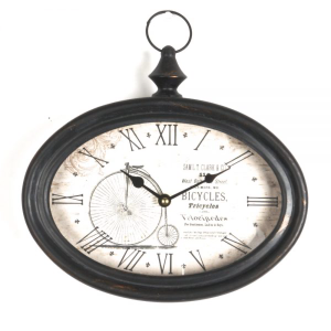 White Smoke Table Clock - Penny Farthing