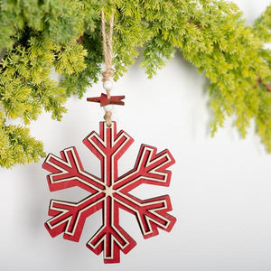 Maroon RED WOODEN SNOWFLAKE ORNAMENT