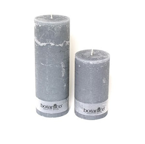 Dark Gray Rustic Pillar Candle - Small - Various Colors