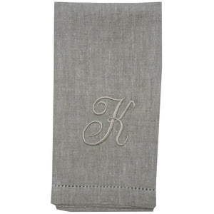 Light Slate Gray Atlas (natural) Custom Monogrammed Hand Towel (Script Font)