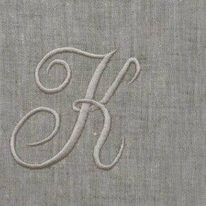 Dark Gray Atlas (natural) Custom Monogrammed Hand Towel (Script Font)