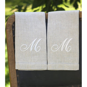 Gray Atlas (natural) Custom Monogrammed Hand Towel (Script Font)