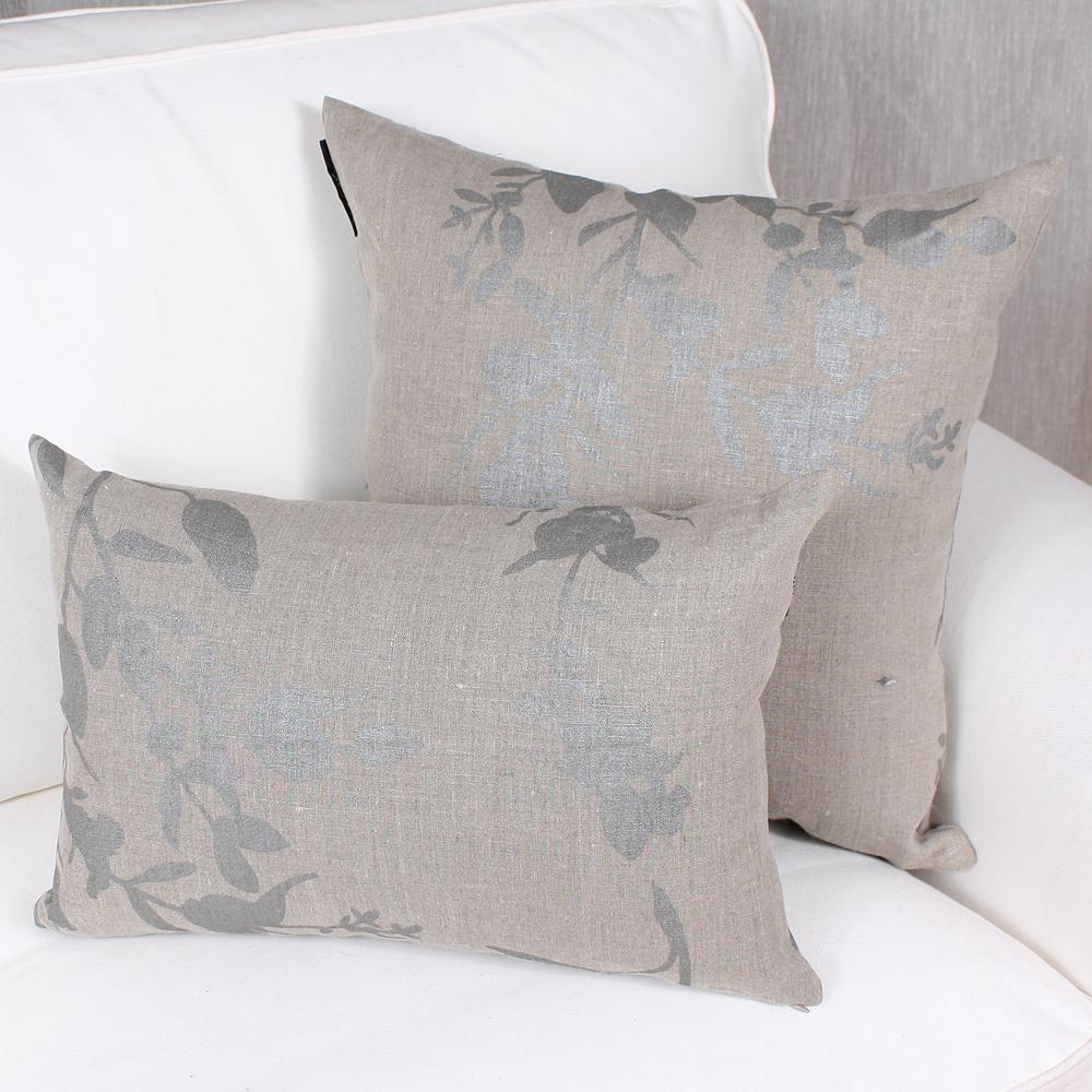 Gray Pillow - Leaves - Natural
