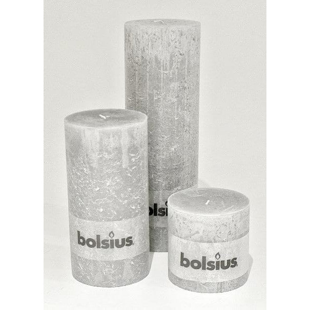 Gray Rustic Pillar Candle -  Large