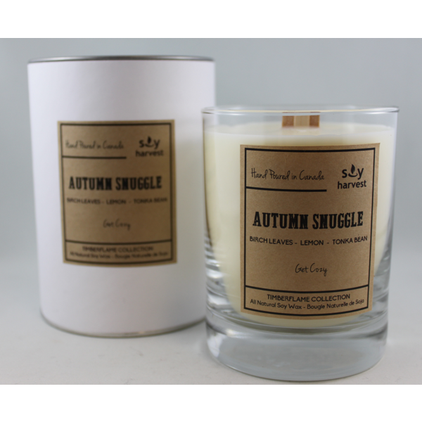 Dark Olive Green Timberflame Soy Candle - Autumn Snuggle