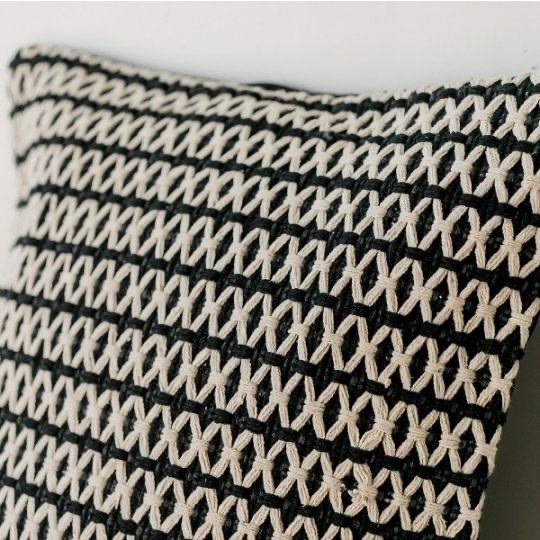 Black Pillow - Woven Cotton - Black/Cream