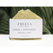 Load image into Gallery viewer, Tan Lemon and Poppyseed Natural Soap