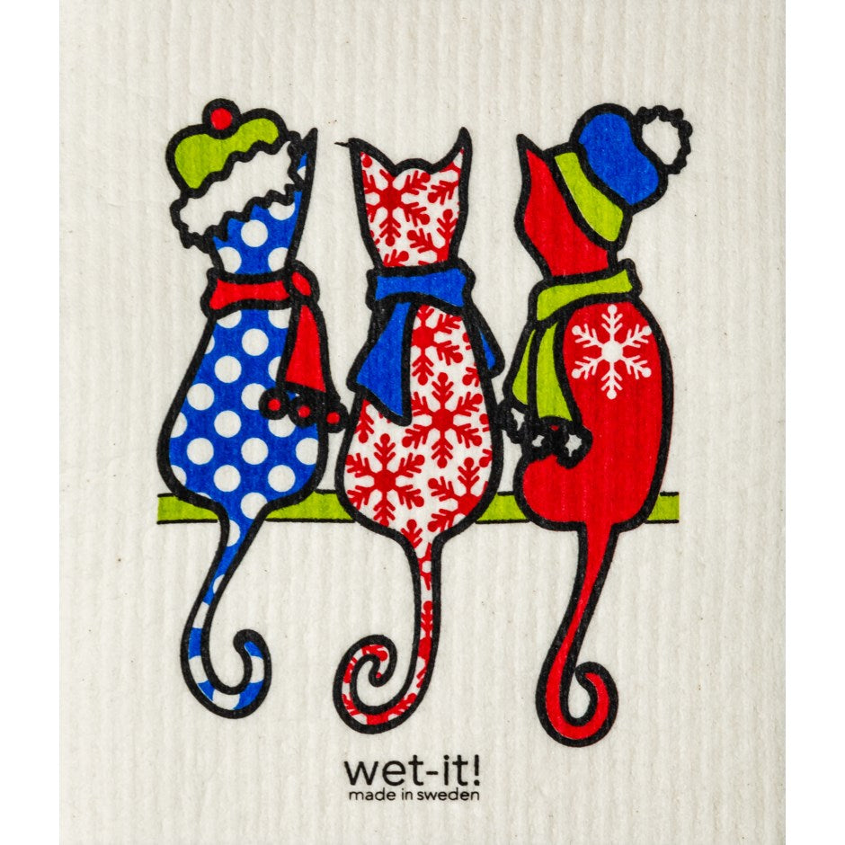Red Wet-it Cloth - Christmas Cats