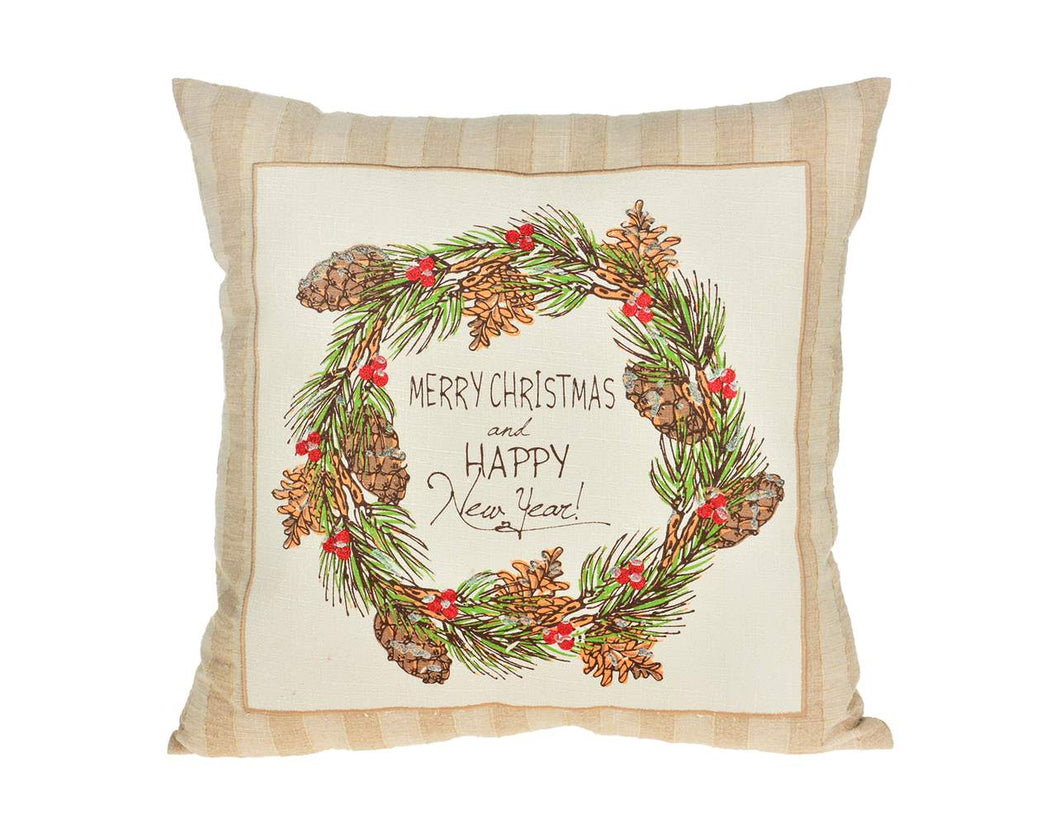 Tan Merry Christmas Pillow - Square