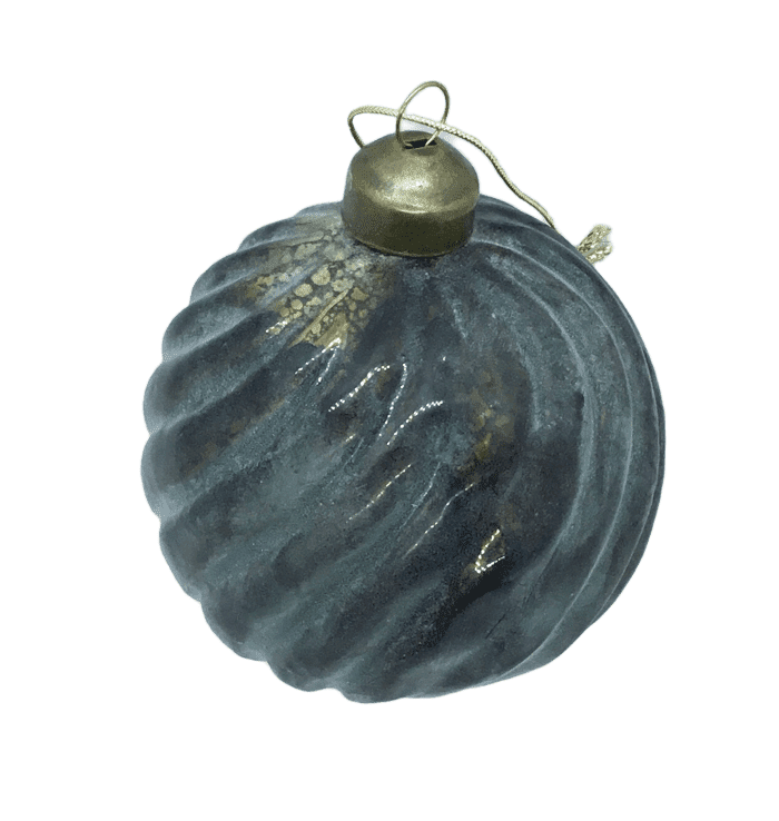 Dark Slate Gray Green Antiqued Vintage Style Ball Ornament - Swirl