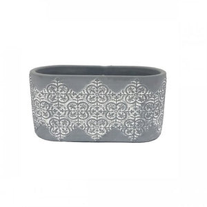 Dark Gray Cement Planter - Scroll - Oval