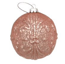 Load image into Gallery viewer, White Pink Fleur De Lys Ball Ornament