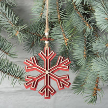 Load image into Gallery viewer, Maroon RED WOODEN SNOWFLAKE ORNAMENT