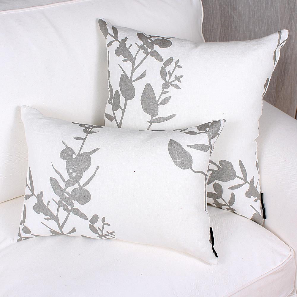 Dark Gray Pillow - Leaves - White