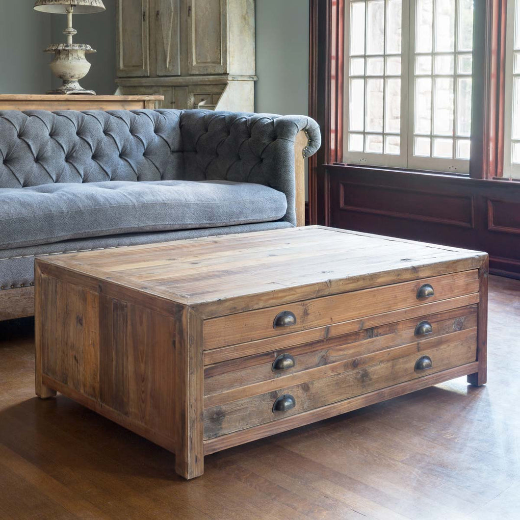 Dim Gray Old Pine Map Drawer Coffee Table