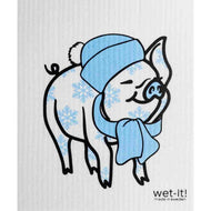 Sky Blue Wet-it Cloth - Pig/Snowflakes