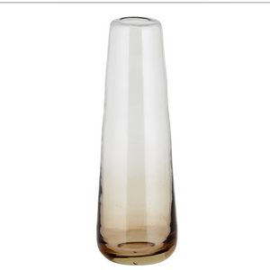 Antique White Hand Blown Glass Vase  - Smoked Brown