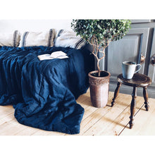 Load image into Gallery viewer, Dark Slate Blue Linen Comforter with Linen Fiber Filling
