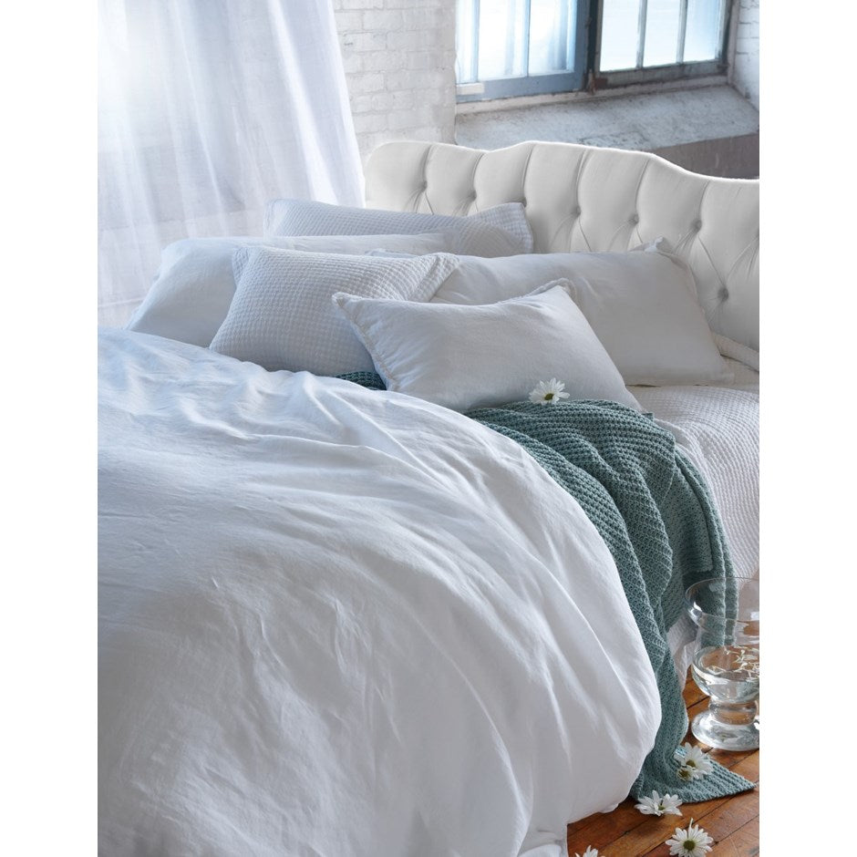Dark Gray Belgian Linen Duvet Cover - King White