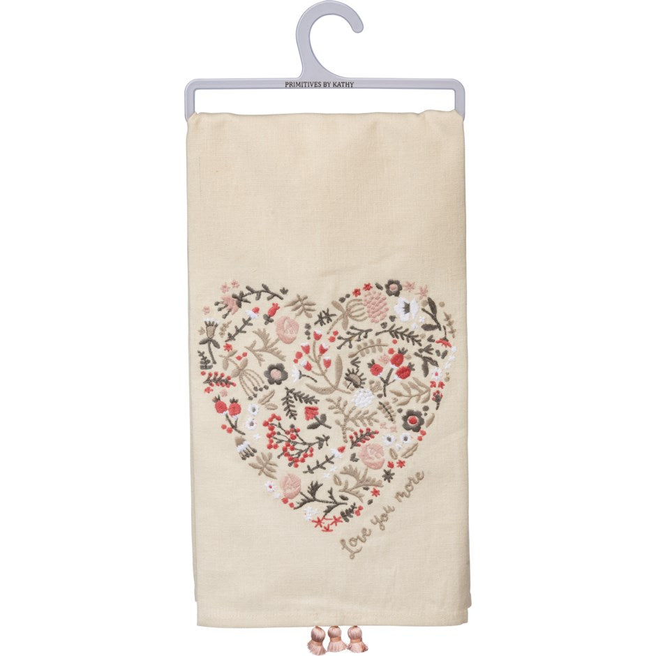 Gray Dish Towel - Floral Heart - Love You More