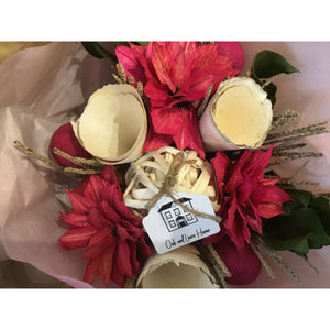 Brown Dried Floral Bouquet - Pink