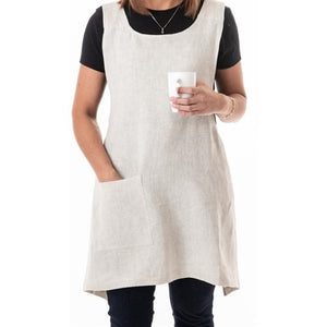 Gray LINEN STONE WASH SOFT PINK APRON