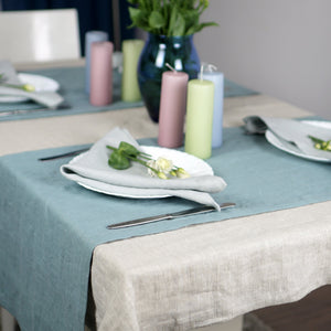 Gray Set of natural linen napkins with mitered hem