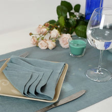 Load image into Gallery viewer, Light Slate Gray Set of natural linen napkins with mitered hem