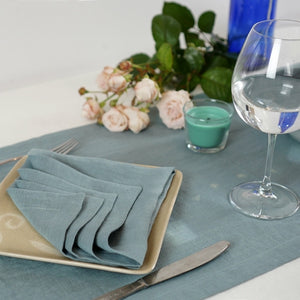 Light Slate Gray Set of natural linen napkins with mitered hem