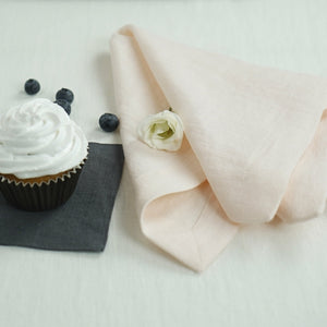 Rosy Brown Set of natural linen napkins with mitered hem