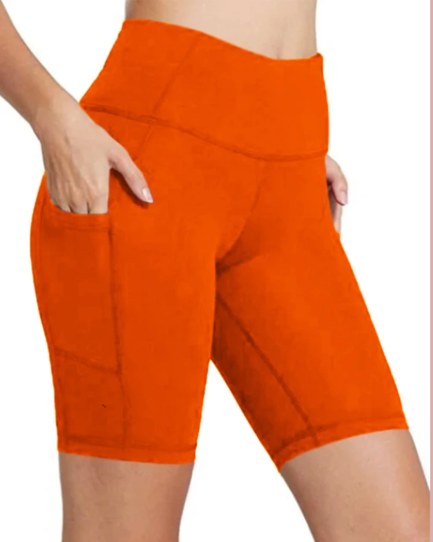 Women Compression High Waist Yoga Biker Shorts (Coral Neon)