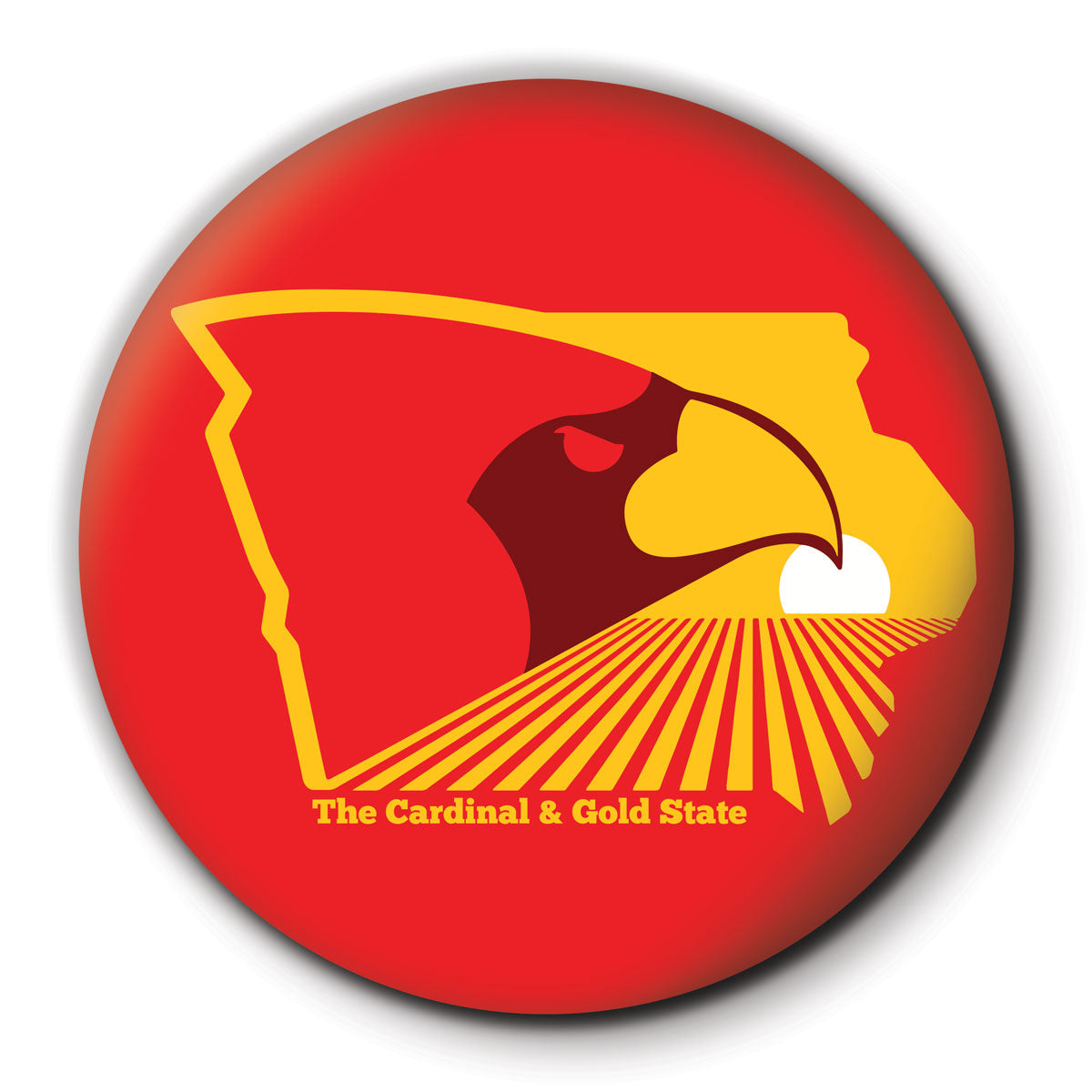 The Cardinal and Gold State Round Coaster